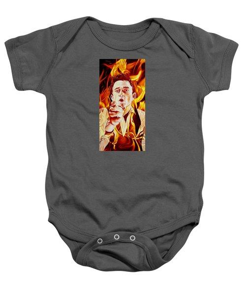 Johnny Cash And It Burns Baby Onesie