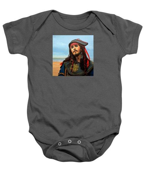 Johnny Depp As Jack Sparrow Baby Onesie by Paul Meijering