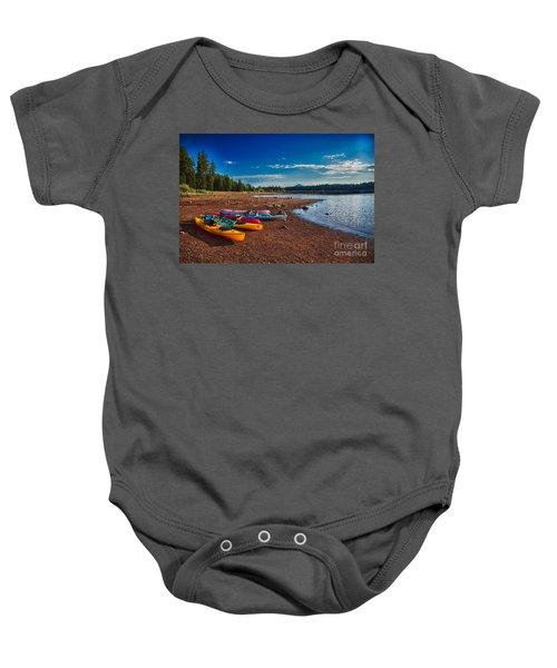 Kayaking On Howard Prairie Lake In Oregon Baby Onesie