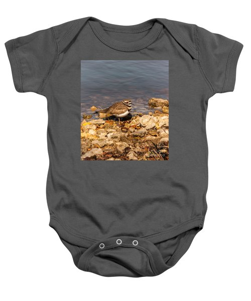 Kildeer On The Rocks Baby Onesie by Robert Frederick