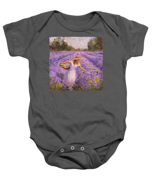 Woman Picking Lavender In A Field In A White Dress - Lady Lavender - Plein Air Painting Baby Onesie