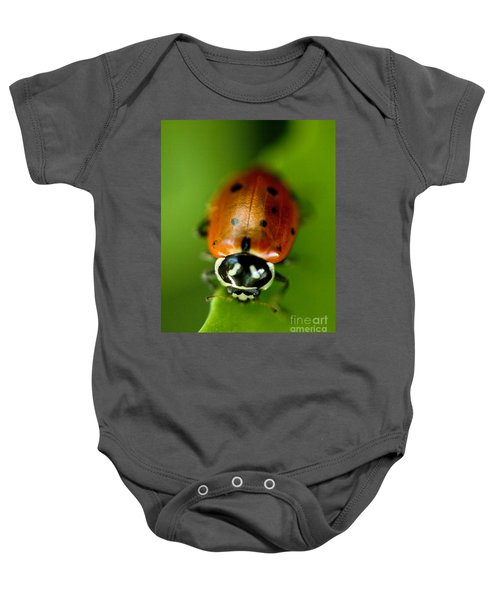 Ladybug On Leaf Baby Onesie