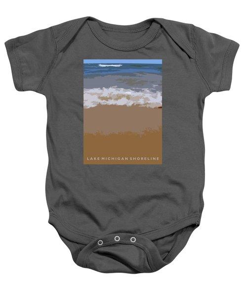 Lake Michigan Shoreline Baby Onesie by Michelle Calkins