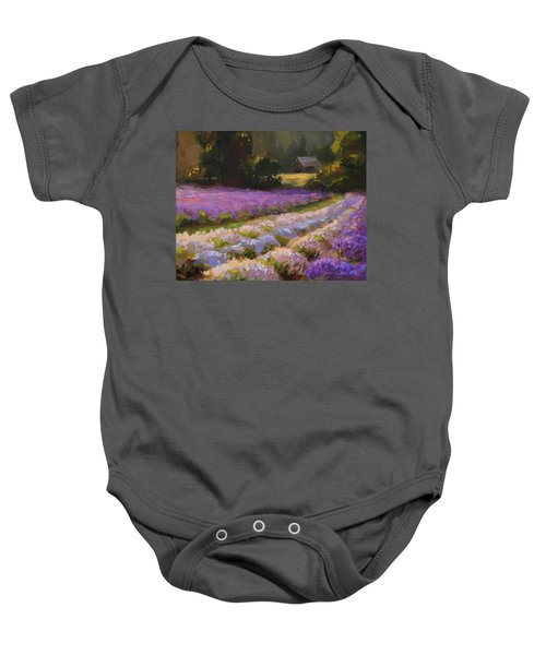 Lavender Farm Landscape Painting - Barn And Field At Sunset Impressionism  Baby Onesie