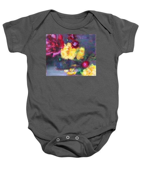 Lemon And Magenta - Flowers And Radish Baby Onesie