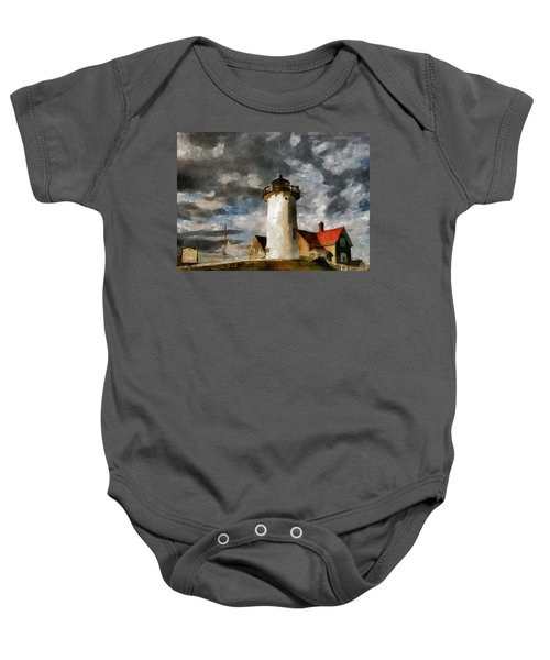 Light House In A Storm Baby Onesie