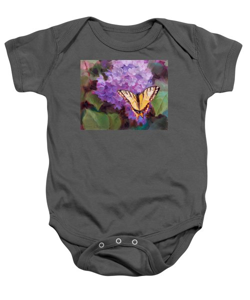 Lilacs And Swallowtail Butterfly Purple Flowers Garden Decor Painting  Baby Onesie