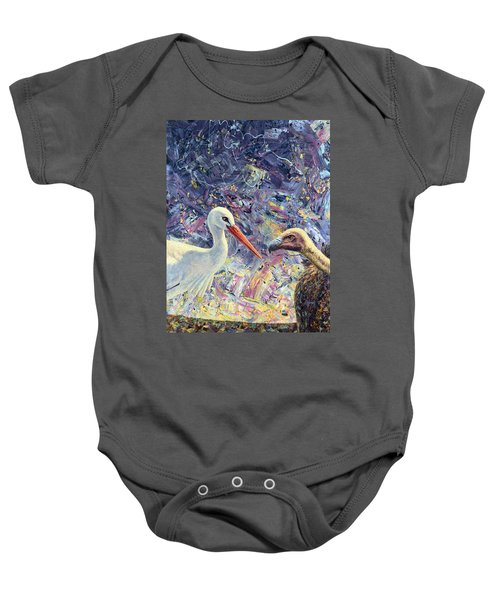 Living Between Beaks Baby Onesie by James W Johnson