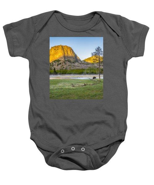 Lone Buffalo Yellowstone National Park Baby Onesie