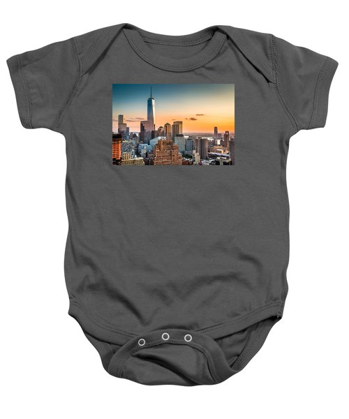 Lower Manhattan At Sunset Baby Onesie