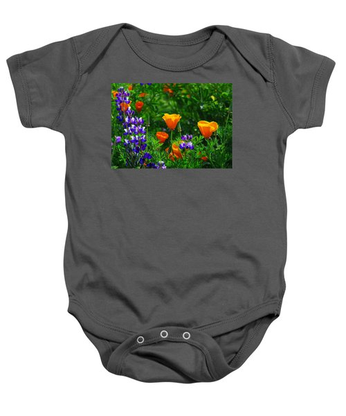 Lupines And Poppies Baby Onesie