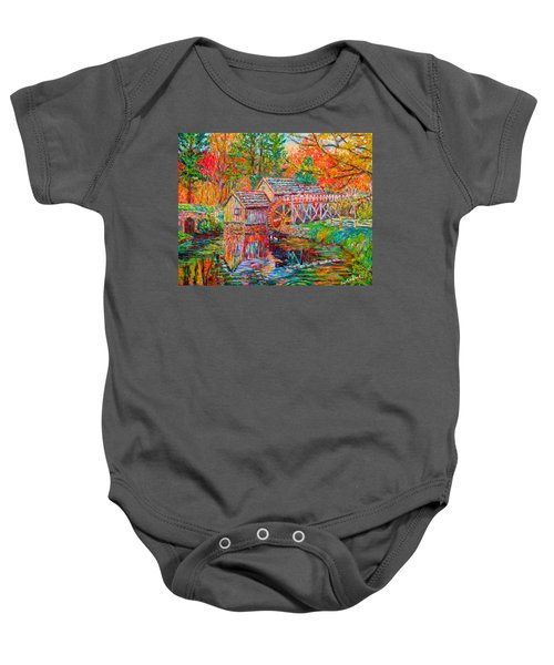 Baby Onesie featuring the painting Mabry Mill In Fall by Kendall Kessler