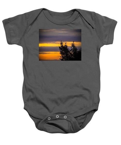 Magpies At Sunrise Baby Onesie