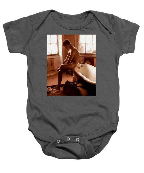 Man And Bath Baby Onesie