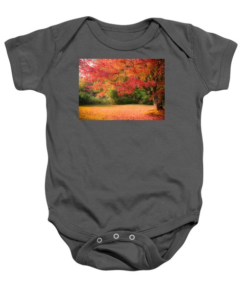 Maple In Red And Orange Baby Onesie