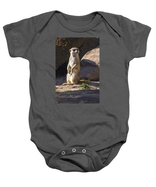 Meerkat Looking Left Baby Onesie by Chris Flees