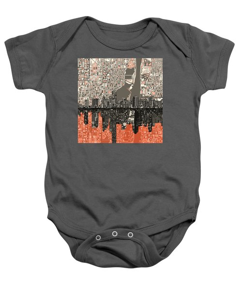 Miami Skyline Abstract 2 Baby Onesie by Bekim Art