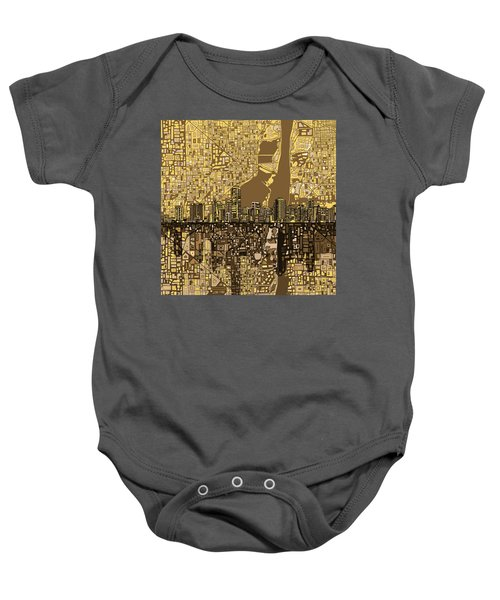 Miami Skyline Abstract 6 Baby Onesie by Bekim Art