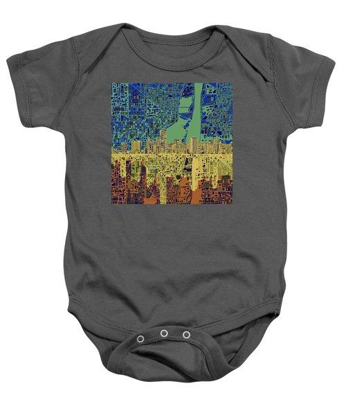 Miami Skyline Abstract 7 Baby Onesie by Bekim Art