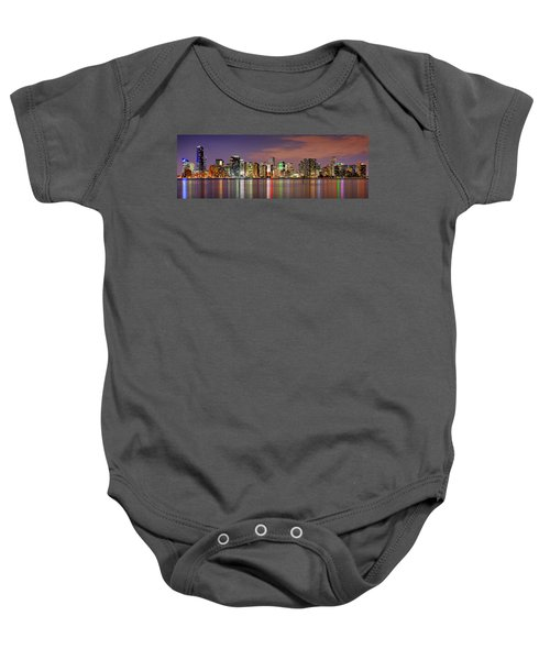 Miami Skyline At Dusk Sunset Panorama Baby Onesie by Jon Holiday