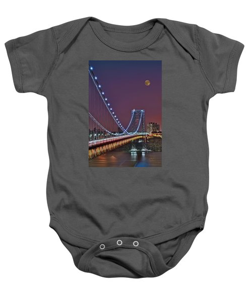 Moon Rise Over The George Washington Bridge Baby Onesie