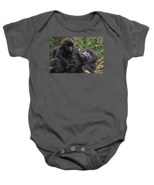 Mountain Gorilla Mom And Baby Virunga Baby Onesie