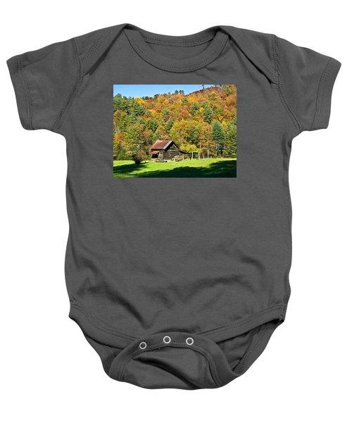 Mountain Log Home In Autumn Baby Onesie