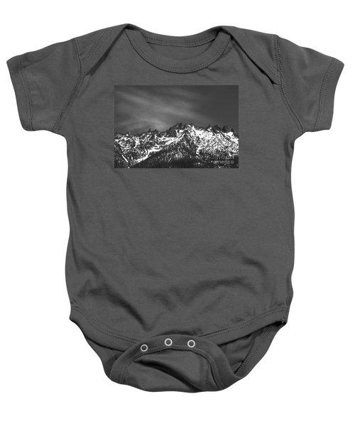 North Cascade Mountain Range Baby Onesie by Yulia Kazansky