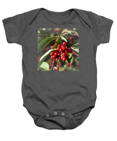 Natures Gift Of Red Berries Baby Onesie