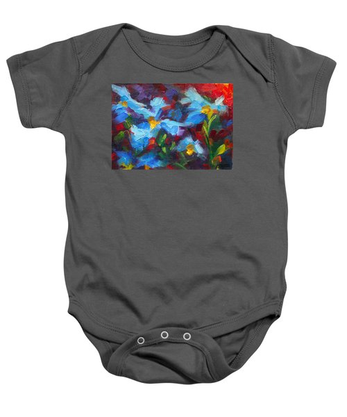 Nature's Palette - Himalayan Blue Poppy Oil Painting Meconopsis Betonicifoliae Baby Onesie