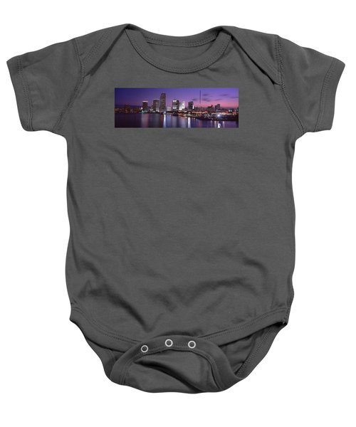 Night Skyline Miami Fl Usa Baby Onesie by Panoramic Images