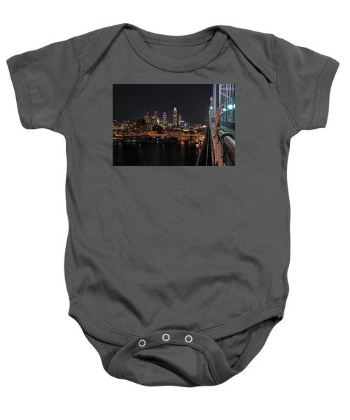Baby Onesie featuring the photograph Nighttime Philly From The Ben Franklin by Jennifer Ancker