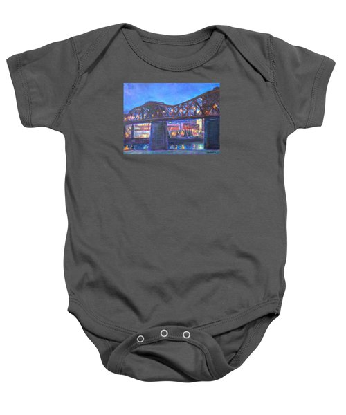 City At Night Downtown Evening Scene Original Contemporary Painting For Sale Baby Onesie