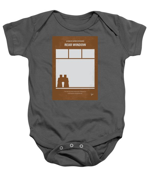 No238 My Rear Window Minimal Movie Poster Baby Onesie by Chungkong Art