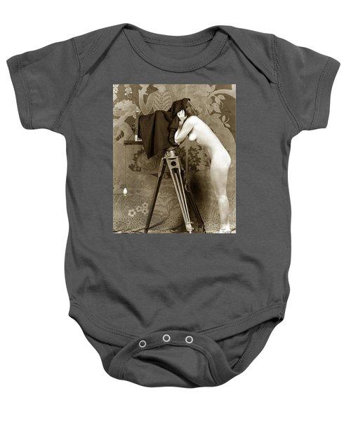 Nude In High Heel Shoes With Studio Camera Circa 1920 Baby Onesie