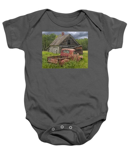 Old Abandoned Homestead And Truck Baby Onesie