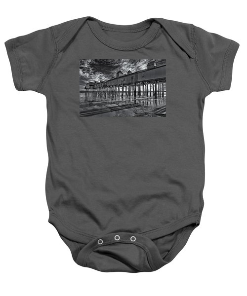Old Orchard Beach Pier Bw Baby Onesie