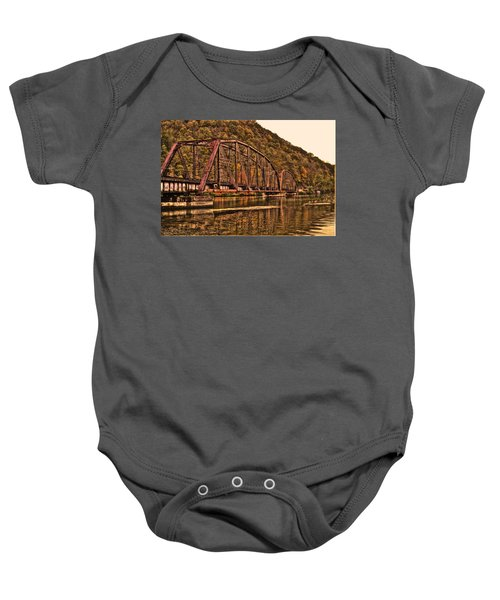 Baby Onesie featuring the photograph Old Railroad Bridge With Sepia Tones by Jonny D