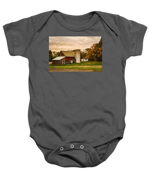 Old Red Barn And Silo Baby Onesie