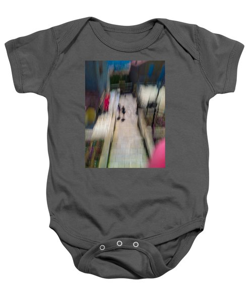 Baby Onesie featuring the photograph On The Stairs by Alex Lapidus