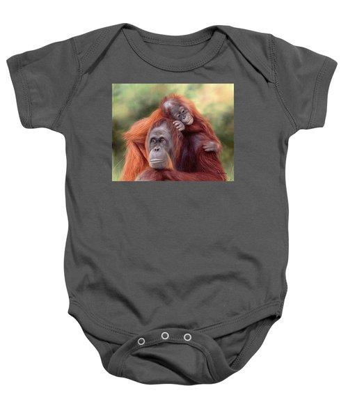 Orangutans Painting Baby Onesie by Rachel Stribbling