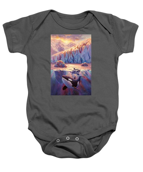 Orca Sunrise At The Glacier Baby Onesie