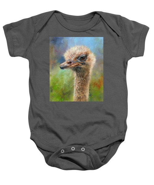 Ostrich Baby Onesie by David Stribbling