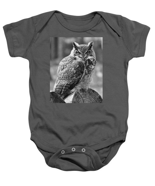 Owl In Black And White Baby Onesie