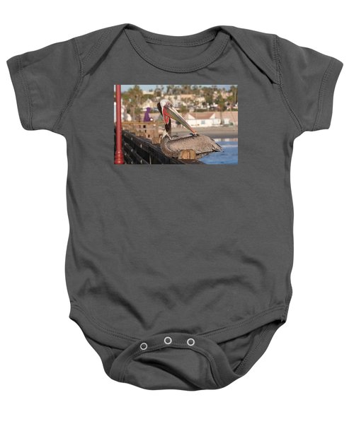 Pelican Sitting On Pier  Baby Onesie