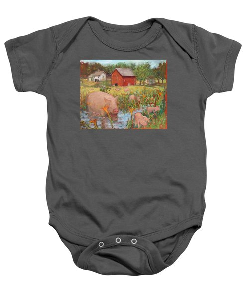 Pigs And Lilies Baby Onesie