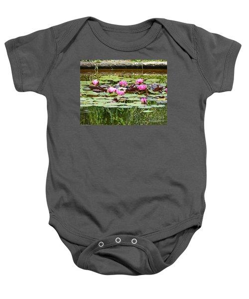 Pink Water Lilies Baby Onesie