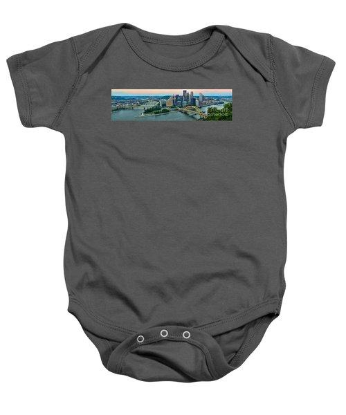 Pittsburgh Panorama At Dusk Baby Onesie
