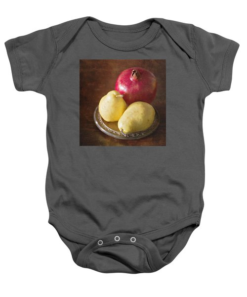 Pomegranate And Yellow Pear Still Life Baby Onesie