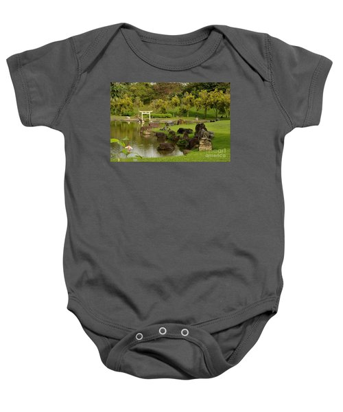 Pond Rocks Grass And Japanese Arch Singapore Baby Onesie